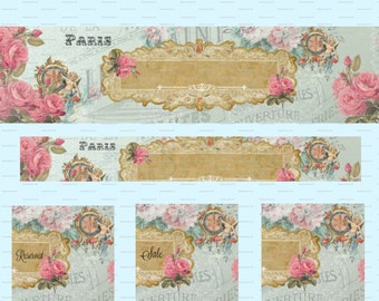 Vintage Angels DIY Etsy Banner Cover French Blank Shop Store Pink Avatar Set Of 5  Shop Icon Graphic Flowers Instant Digital Download