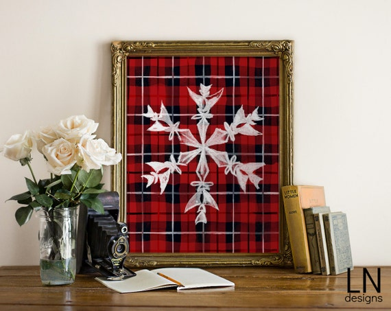 Items Similar To Instant Christmas Snowflake Red Plaid