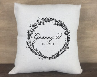 "Grandparent Established Wreath Personalized Canvas Pillow 14""x14"""