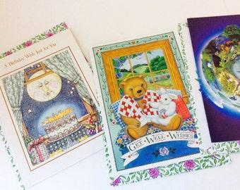 Vintage Greeting Card, Set of 4 Cards & 4 Floral Envelopes - Friend - Get Well - Birthday - Blank, Jessica Stewart Designed Cards