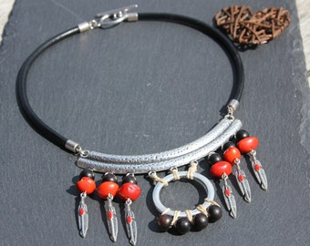 ethnique breastlate / necklace, silvered  metal, ebony wood, red sibipurina seeds, raw linen, black leather