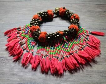 Vintage Hmong tassel necklace.