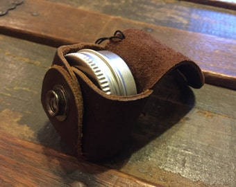 Leather Keychain Pill Holder
