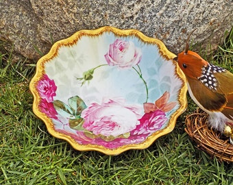 Antique Haviland Limoges Hand Painted Bowl Dubois Master Artist Signed Roses with Gold Gilding France 1903 - Free Shipping