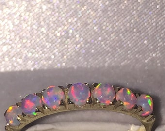 14k solid gold 2 carat opal band hand made ring