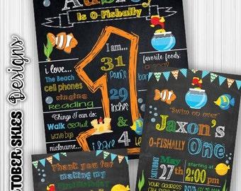 O-Fishally One Birthday Chalkboard, Ofishally One Invite, Thank you card, Birthday Package, Digital File, Any age