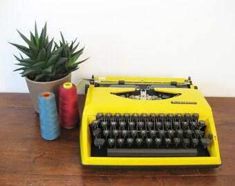 Working Typewriter Vintage Portable Yellow Adler Tippa 1971