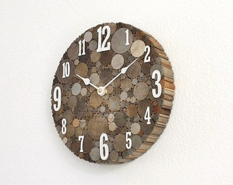 Rustic Wall Clock, Unique Home Decor, Farmhouse Style Clock, Round Wood Clock