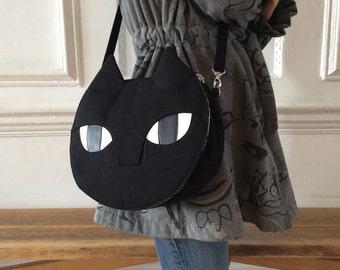 Black Cat Bag - Canvas Crossbody Bag - Hand Bag - Large - Handmade Hand Printed - Silkscreen Print - Gift for Cat lovers