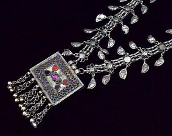 Kashmiri Necklace,Chained Ethnic Necklace,Amulet Tribal Necklace,Belly Dancing,Afghan Kuchi Necklace,Prayer Box,Bohemian,Boho Gypsy Necklace