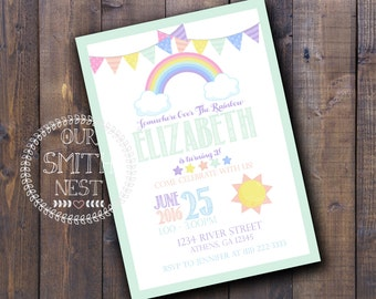 Rainbow Birthday Party Invitation DIY PRINTABLE Customizable Digital Prints
