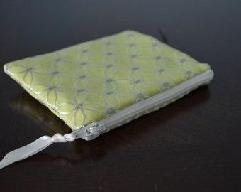 Green Change Purse, Handmade, High Quality, Card Holder, Zipper Pouch, Wallet, Women