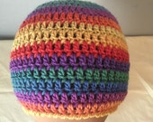 Girl Women Boy Men Hat Crocheted Colorful Rainbow Striped Beanie Child Newborn Teen Adult Hat Unique All Sizes Rainbow Carnival