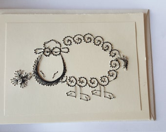 Hand Stitched Black Sheep Greetings Card