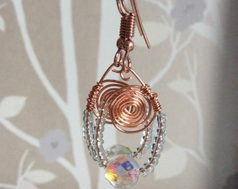 Delicate Rose Gold Plated Wire Chandelier Earrings
