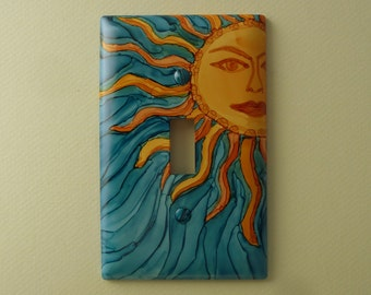 Here Comes the Sun, Light Switch Cover Painted with Alcohol Ink