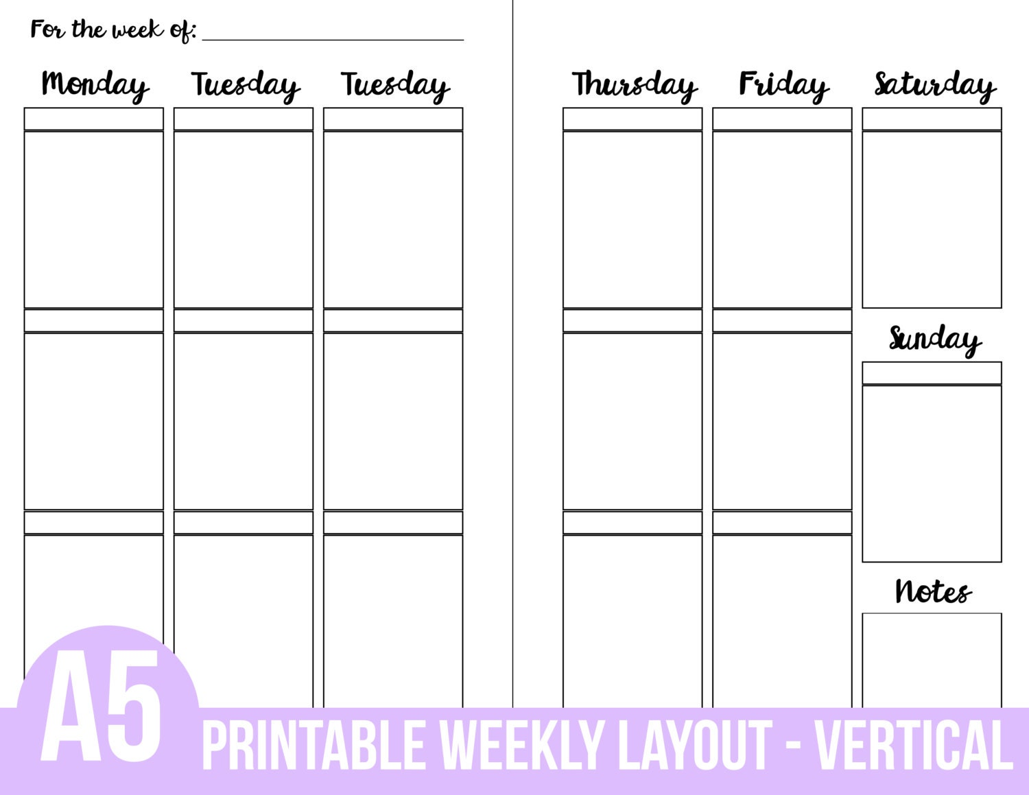 Weekly Vertical Calendar Template : Printable a planner inserts weekly vertical layout section