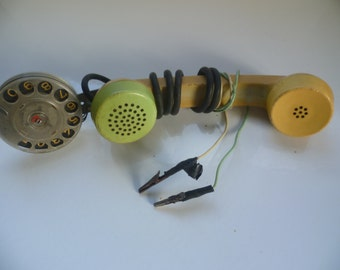 Vintage East Europe.Mobile old phone. Handmade from mechanic. 1970s.