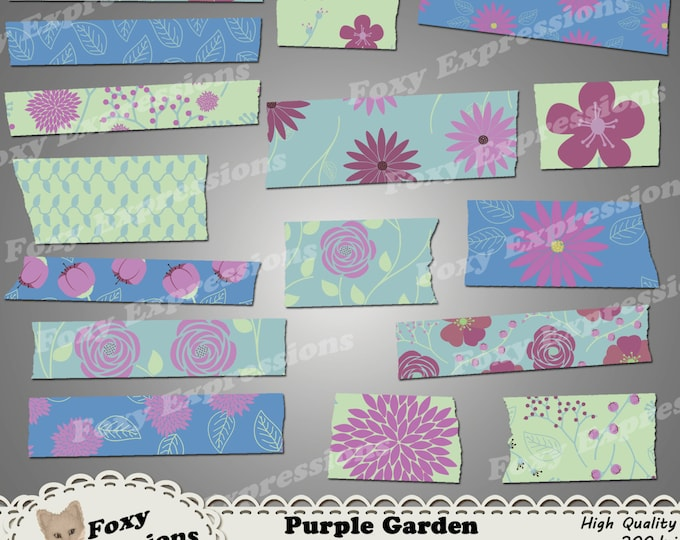 Purple Garden washi tape comes in shades of purple, green and blue. Designs include leaves, roses, daisies, poppies, stem, buds & more