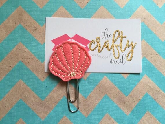 Coral Seashell Paper Clip/Planner Clip/Bookmark.