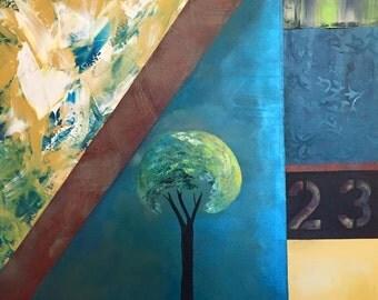 """SALE- Original 24"""" x 24"""" Square, Geometric Tree Painting, """"23"""""""