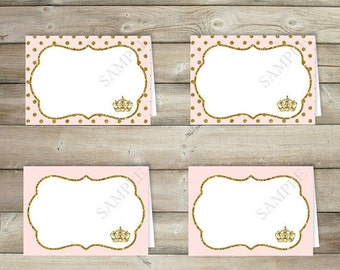 50% OFF SALE Pink and Gold Tent Cards , Table Tent , Place Card , Buffet Labels , Princess Baby Shower Decorations , Party Printables