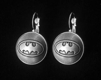 Silver Batman Earrings -Batman Dangle Earrings -Gift For Her -Personalized Earrings