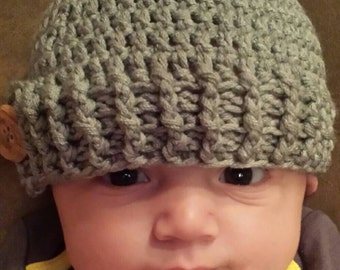 Crochet Baby Beanie with wooden button, infant to adult sizes.