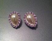 1950s vintage tanzanite type crystal faux pearl deco earrings retro earrings antique earrings