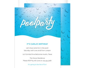 Pool Party Invitation / Children's Birthday Party Invitation / Summer Party Invitation / Printable Blue Water Party Invitation