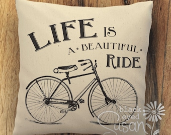 "Life Is A Beautiful Ride Bicycle Pillow Cover | Natural 100% Cotton Canvas or Burlap | 12""x12"" 16""x16"" 20""x20"" 