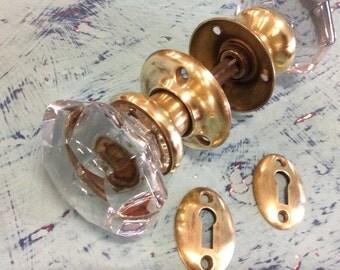 8 Point Glass Knobs, brass rosettes, escutcheons SET