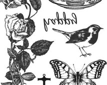 Temporary Tattoo - Set of 6 Vintage Floral OR Set of 10 Floral, Swallows & Feathers