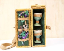 Vintage Wicker Picnic Basket with Corkscrew Goblets Cork Napkins Insulated Wine Carrier