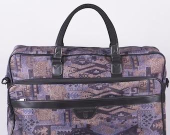 Vintage Weekender with print - vintage travel bag - vintage bag - purple - black - ethno - hipster - unisex - carry handle - vintage 1980