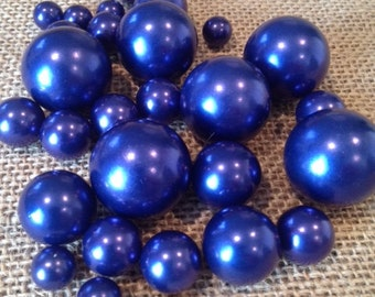 Bulk Loose Royal Blue Pearls size 3mm-30mm for jewelry repairs, crafts, scrapbook, vase fillers,  trinkets