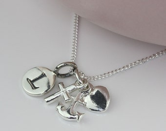 Solid Silver 'Faith, Hope, Charity' Charms Necklace Personalised with a Solid Silver Stamped Initial Charm