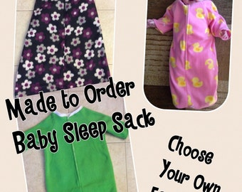 Baby Sleep Sack-Choose Your Fabric-Baby Bunting-Sleeveless and Sleeves Available