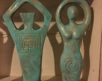 Copper Patina God and Goddess statues
