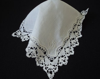 French vintage stunning linen hand made lace initial handkerchief (02553)