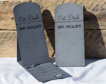 Set of 10 - Pop Up Tombstone Halloween Party Invitations - Pop up card - Greeting Card