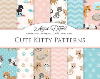 Cute Cat Digital Paper. Scrapbook Backgrounds, Kitty patterns for Commercial Use. pink and blue kittens, cats, pets paw prints