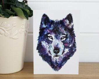 A6/C6 Watercolour Wolf Selfie Fine Art Greeting Card