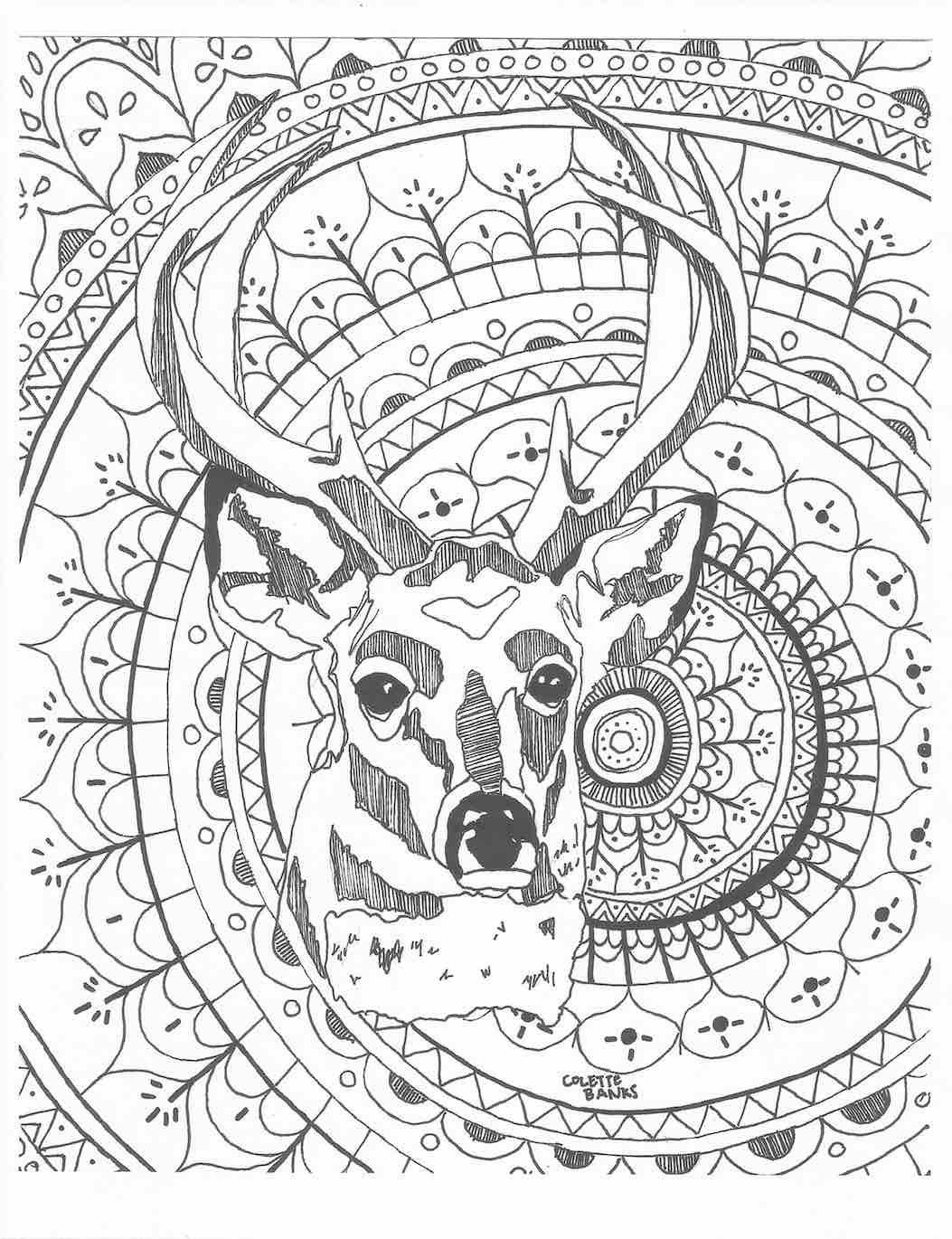 Mandala adult coloring page deer digital print by essenceofink for Deer coloring pages for adults