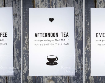 Set of 3 Prints Morning Coffee / Afternoon Tea / Evening Wine