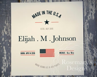 Made In The USA / UK / Chosen State or Country Print. Personalised For a New Baby / Babies Gift