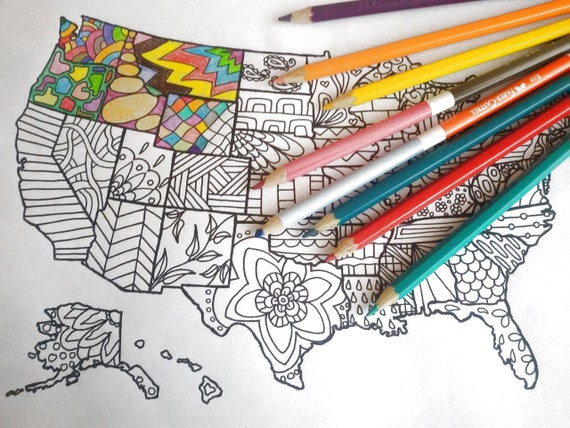 United States America Map Kids Adult Coloring Etsy Sales Book Download Travel Art Home Decor Printable Print Digital Lasoffittadiste