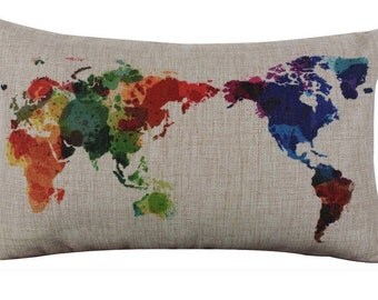 Colorful World Map Throw Pillow Cover
