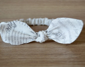 Top Knot French Script Headband