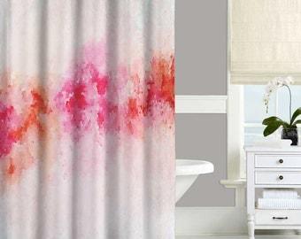 Pink Shower Curtain Abstract Bathroom Decor Art